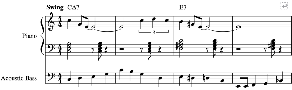 First 4 measures of All Of Me using Clustered Chords